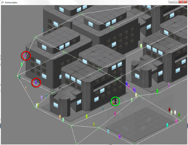 Civilians move around the city on a node network.
